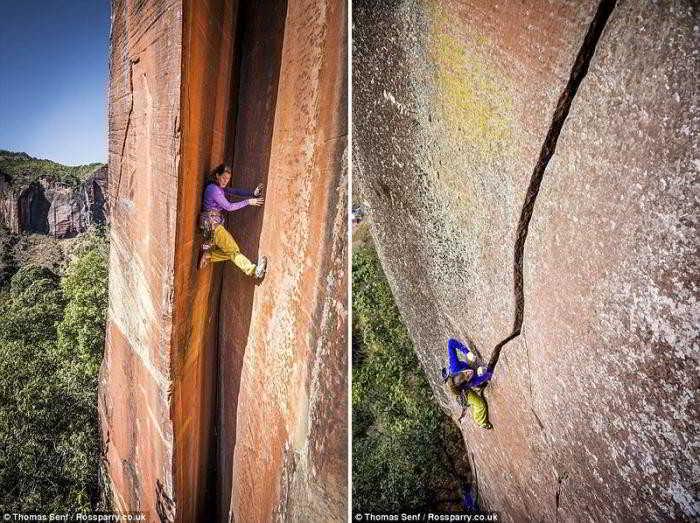 Учительница взобралась на вершину скалы по 300-метровой трещине